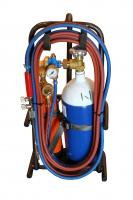 Hardsoldeerset Transportabel door handig draagframe,  voorzien van cilinder zuurstof (4L), cilinder propaan (1L), extra vlamdovers en divers gereedschap;