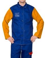 Lasjack Yellowjacket M blauwe vlamvertragende katoenen body en gele split rundlederen mouwen.