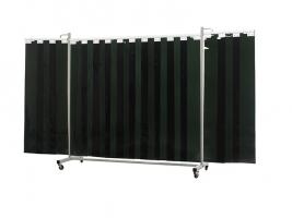 Drieluikscherm Robusto XL met lamellen, kleur groen