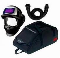 9100FX V    Air+Slang+Tas 3M Speedglas 9100 FX Air Laskap +SW met Speedglas Lasfilter 9100V, ademslang QRS en opbergtas sn cassette :