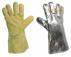 handschoen High Temp Rendlederen handschoen, vijfvingermodel, gevoerd, met hittewerende aluminium gecoate bovenhand en gestikt met Kevlar garen.