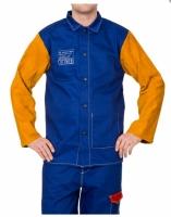 Lasjack Yellowjacket S blauwe vlamvertragende katoenen body en gele split rundlederen mouwen.
