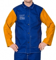 Lasjack Yellowjacket L blauwe vlamvertragende katoenen body en gele split rundlederen mouwen.